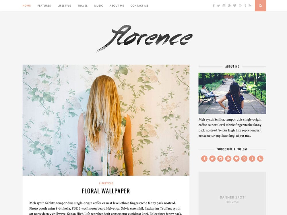 Florence - 25+ Awesome WordPress Themes For Feminine [year]