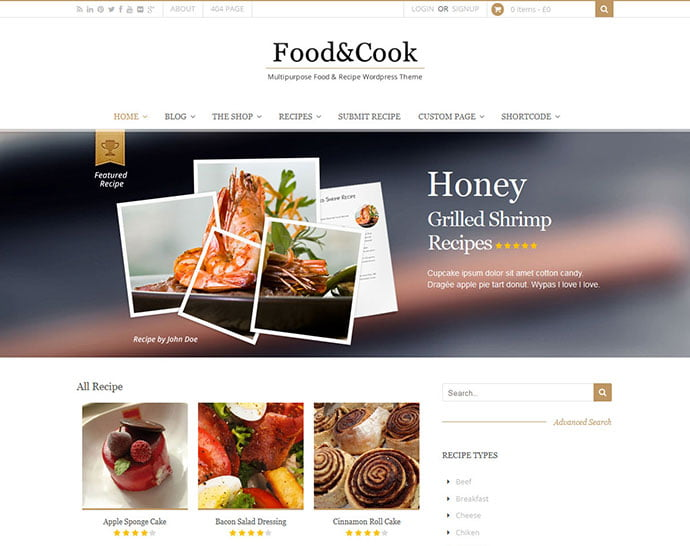 Food-Cook - 36+ Delicious Cooking Idea Share WordPress Themes [year]
