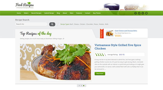 Food-Recipes - 36+ Delicious Cooking Idea Share WordPress Themes [year]