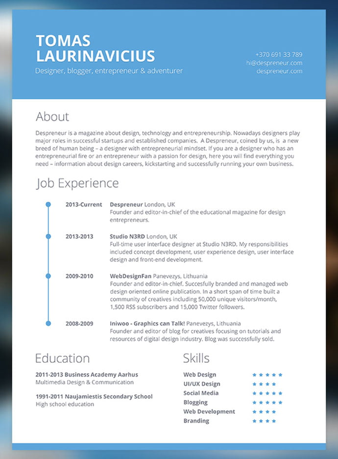 Free-Minimal-Resume-PSD-Template - 41+ Free HTML PSD & InDesign CV Resume Templates [year]