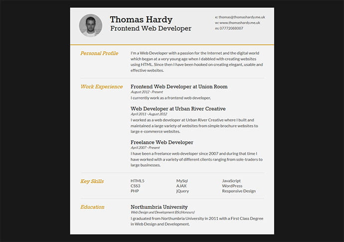 Free-Responsive-HTMLCSS3-CV - 41+ Free HTML PSD & InDesign CV Resume Templates [year]