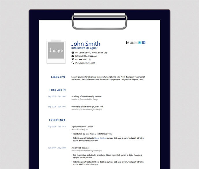 Free-Resume-Template - 41+ Free HTML PSD & InDesign CV Resume Templates [year]
