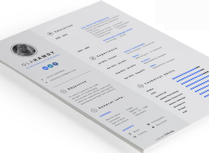 Free-clean-interactive-InDesign-resume - 41+ Free HTML PSD & InDesign CV Resume Templates [year]