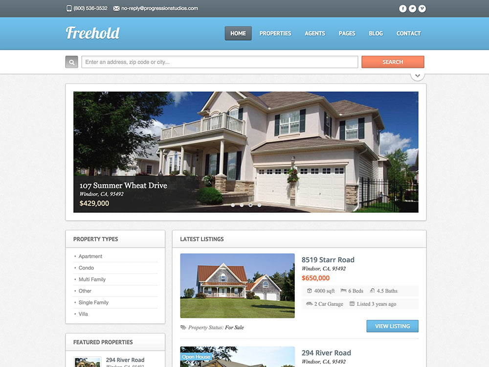 Freehold - 36+ Best WordPress Real Estate Themes [year]