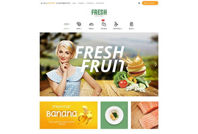Fresh - 30+ Excellent E-commerce WordPress Themes For Food & Drink [year]