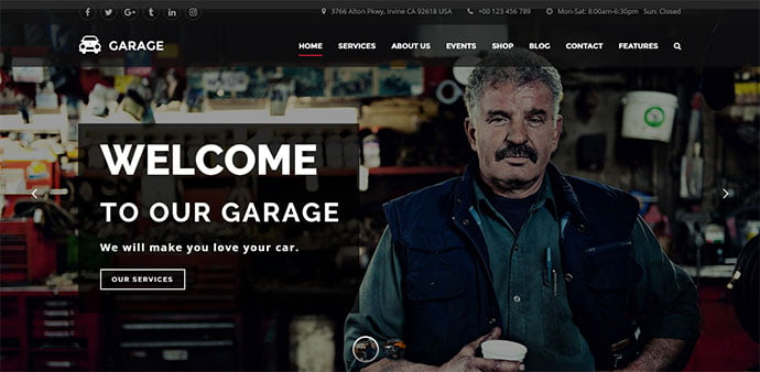 Garage - 36+ Top WordPress Vehicle & Transportation Themes [year]