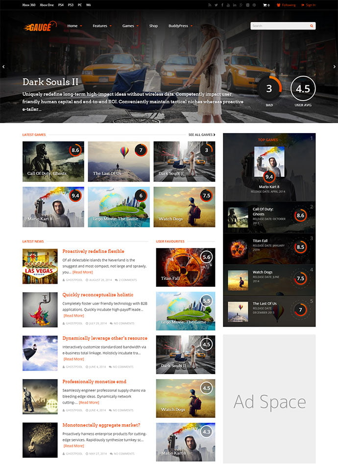 Gauge - 45+ Magazine & Blog WordPress Themes To Make Your Website [year]