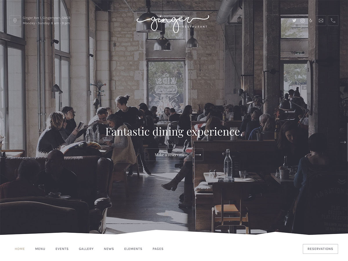 Ginger - 51+ Best Restaurant WordPress Themes [year]