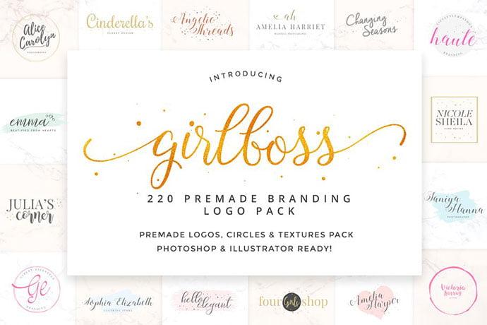 Girlboss-Premade-Branding - 35+ Lovely Watercolor Logo Designs [year]