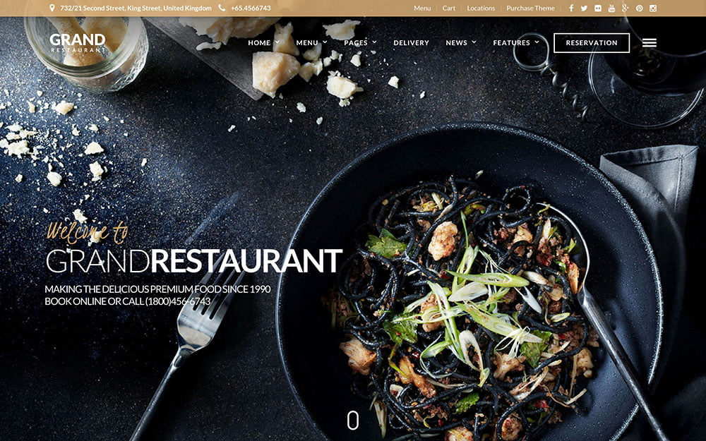 Grand - 51+ Best Restaurant WordPress Themes [year]