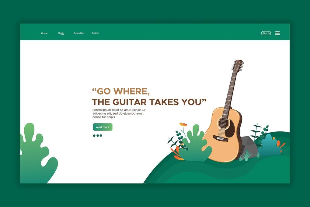 Guitar-1 - 31+ Amazing Hero Image PSD Illustration Templates [year]