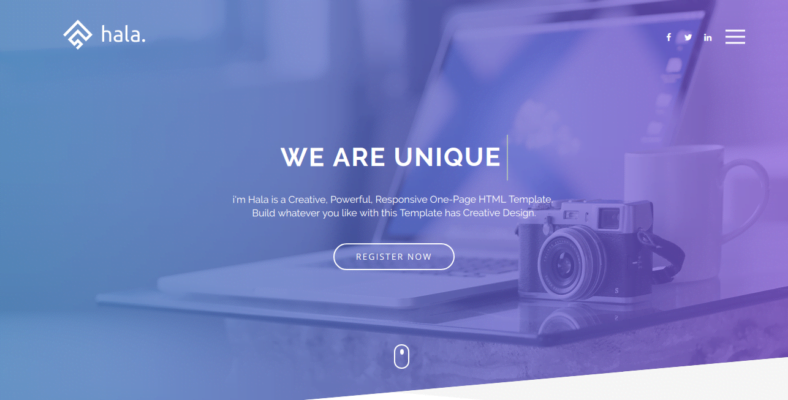 Hala - 41+ Awesome Parallax Landing Page Themes [year]
