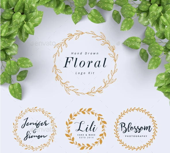 Hand-Drawn-Floral-Logo-Kit - 36+ Amazing Free Hand Drawn Logo Designs For You [year]
