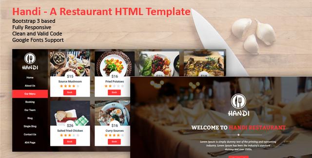 Handi - 41+ Stunning Restaurant Website HTML5 Templates [year]