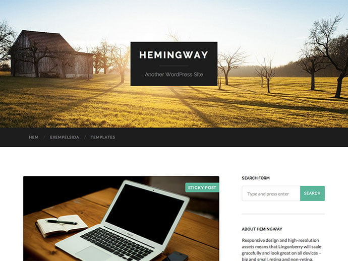 Hemingway - 61+ Free Creating Responsive WordPress Themes [year]