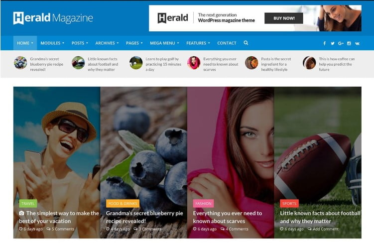Herald - 31+ Top WordPress Themes For Best Adsense Optimized [year]
