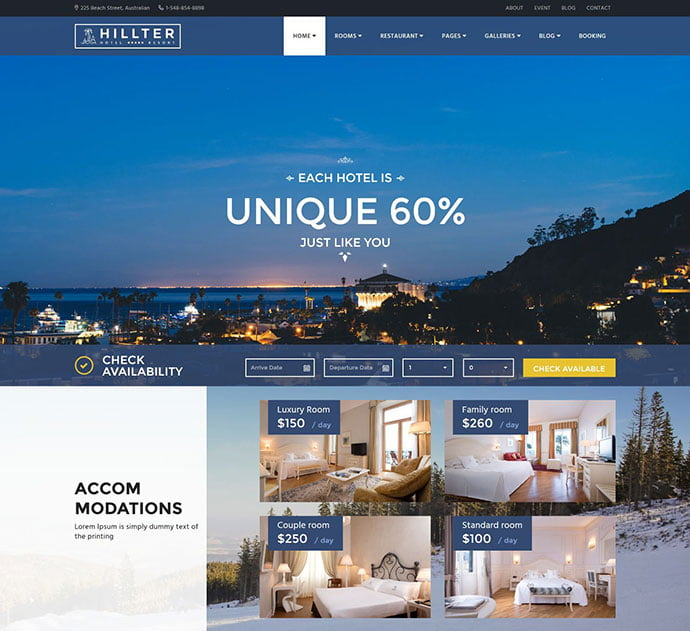 Hillter - 30+ Amazing Resorts & Hotels WordPress Themes [year]