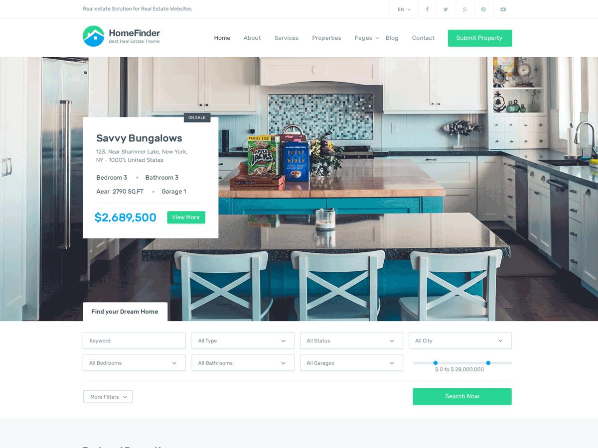 HomeFinder - 36+ Best WordPress Real Estate Themes [year]