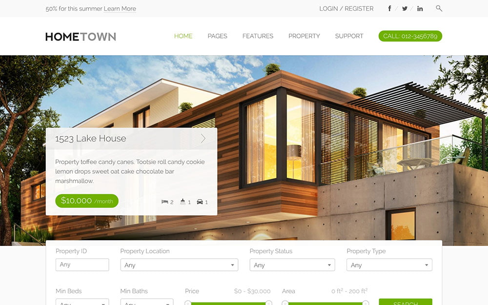 Hometown - 36+ Best WordPress Real Estate Themes [year]