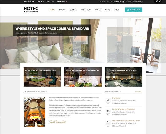 Hotec - 30+ Amazing Resorts & Hotels WordPress Themes [year]
