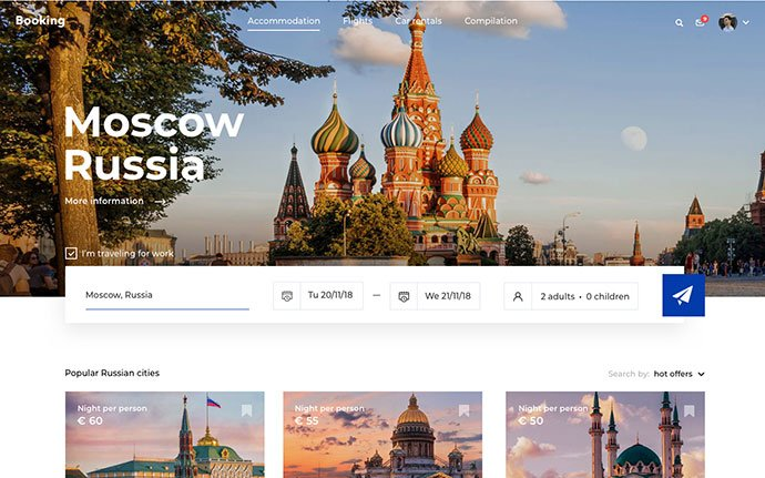 Hotel-Booking-Concept - 46+ Free Inspiration of Travel Web UI Designs [year]
