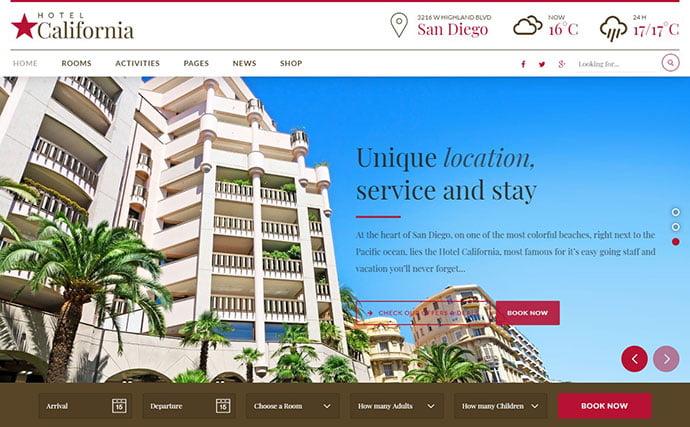Hotel-California - 30+ Amazing Resorts & Hotels WordPress Themes [year]