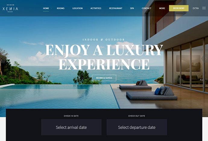 Hotel-XΕΝΙΑ - 30+ Amazing Resorts & Hotels WordPress Themes [year]