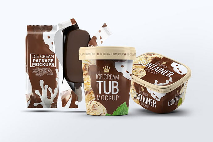 Ice-Cream - 60+ Delicious Food Packaging PSD Mockup Design Templates [year]