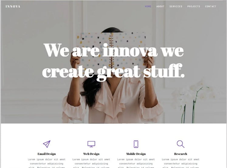 Innova - 77+ Best Free HTML & CSS Clean Simple Website Templates [year]