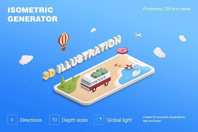 Isometric-Illustration - 35+ Awesome Poster Design For Photoshop Actions [year]