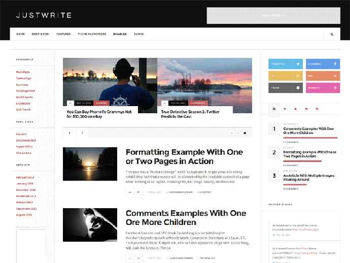 JustWrite - 61+ Free Creating Responsive WordPress Themes [year]