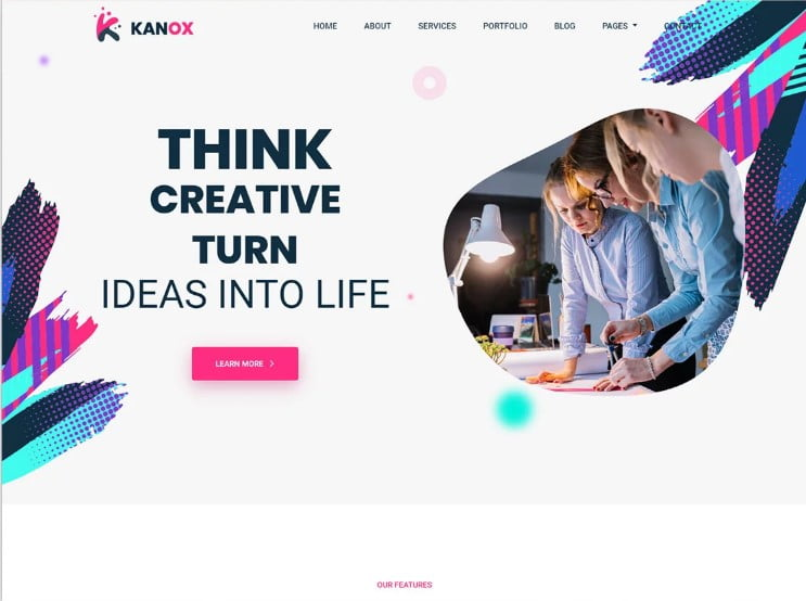 Kanox - 77+ Best Free HTML & CSS Clean Simple Website Templates [year]