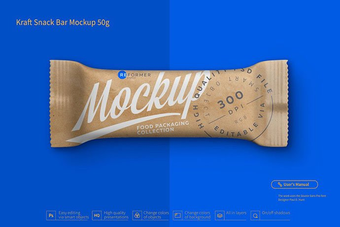 Kraft-Snack - 60+ Delicious Food Packaging PSD Mockup Design Templates [year]
