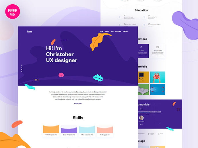 Kross - 41+ Free HTML PSD & InDesign CV Resume Templates [year]