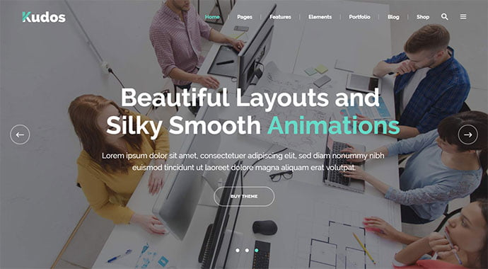 Kudos-1 - 30+ Fullscreen Slider Portfolio WordPress Themes [year]