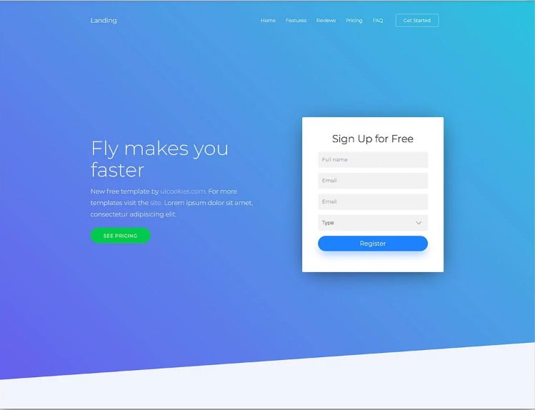Landing - 77+ Best Free HTML & CSS Clean Simple Website Templates [year]