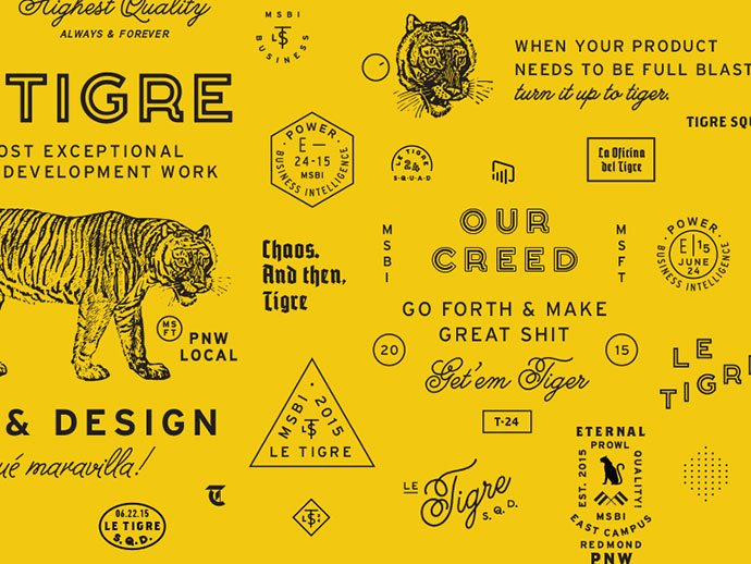 Le-Tigre-Elements-by-Bethany-Heck - 50+ Fantastic BEST FREE Typographic Logo Badge Designs