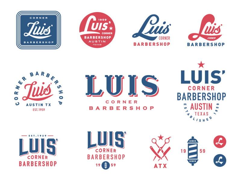 Luis'-Corner-Barbershop-by-Steve-Wolf - 50+ Fantastic BEST FREE Typographic Logo Badge Designs
