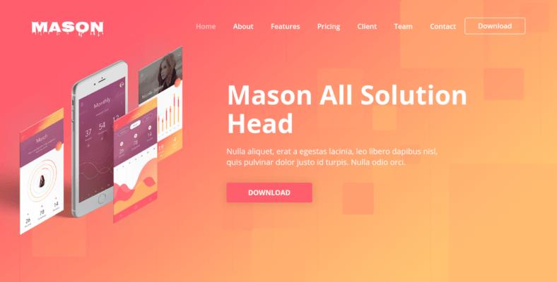 Mason - 41+ Awesome Parallax Landing Page Themes [year]