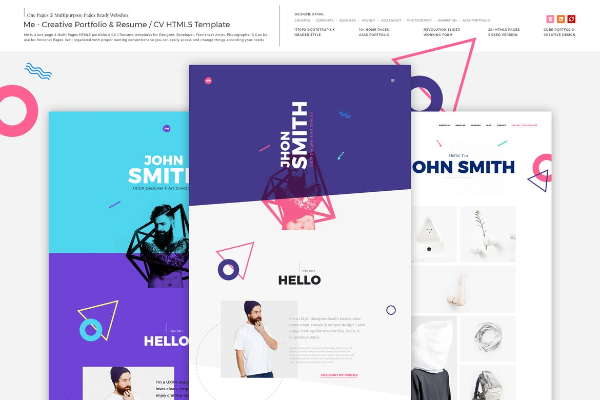 Me - 41+ Free HTML PSD & InDesign CV Resume Templates [year]