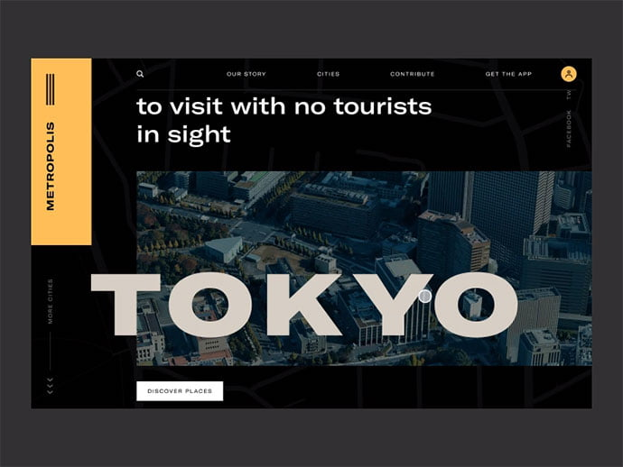 Metropolis-experimental-website - 46+ Free Inspiration of Travel Web UI Designs [year]