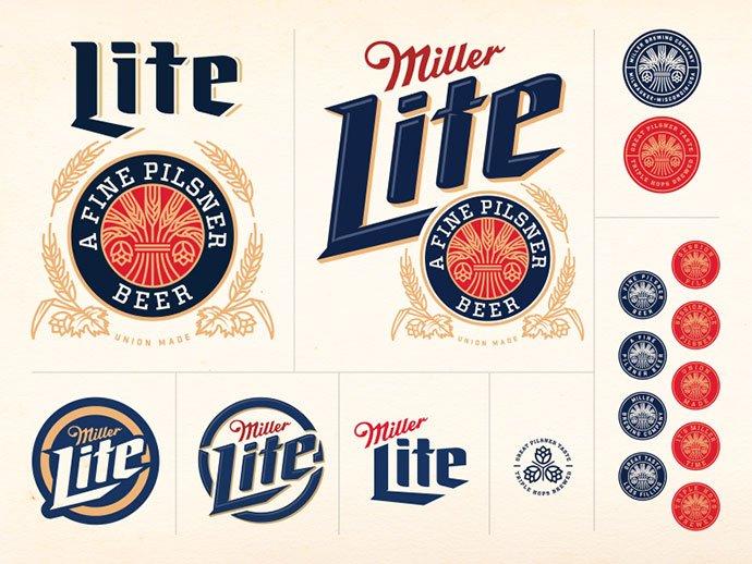 Miller-Lite-Concept-by-Brandon-Rike - 50+ Fantastic BEST FREE Typographic Logo Badge Designs