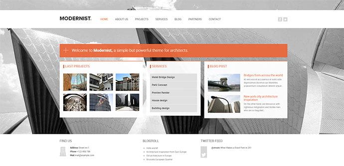 Modernist-1 - 36+ Amazing WordPress Themes For Architect Portfolio [year]