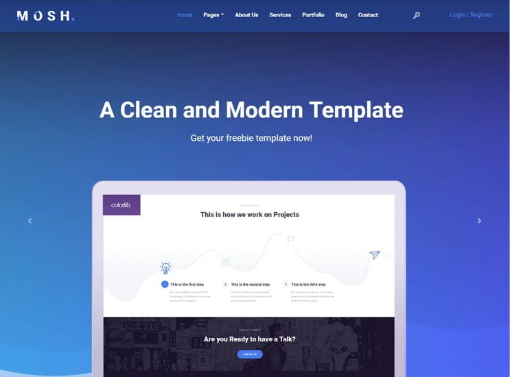 Mosh - 77+ Best Free HTML & CSS Clean Simple Website Templates [year]