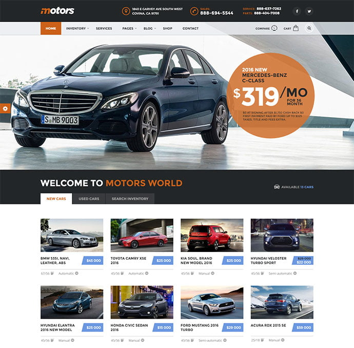 Motors - 36+ Top WordPress Vehicle & Transportation Themes [year]