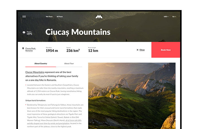MountainWorld - 46+ Free Inspiration of Travel Web UI Designs [year]