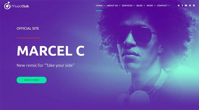 Music-Club - 31+ Impressive Big Fonts & Bright Colors WordPress Themes [year]
