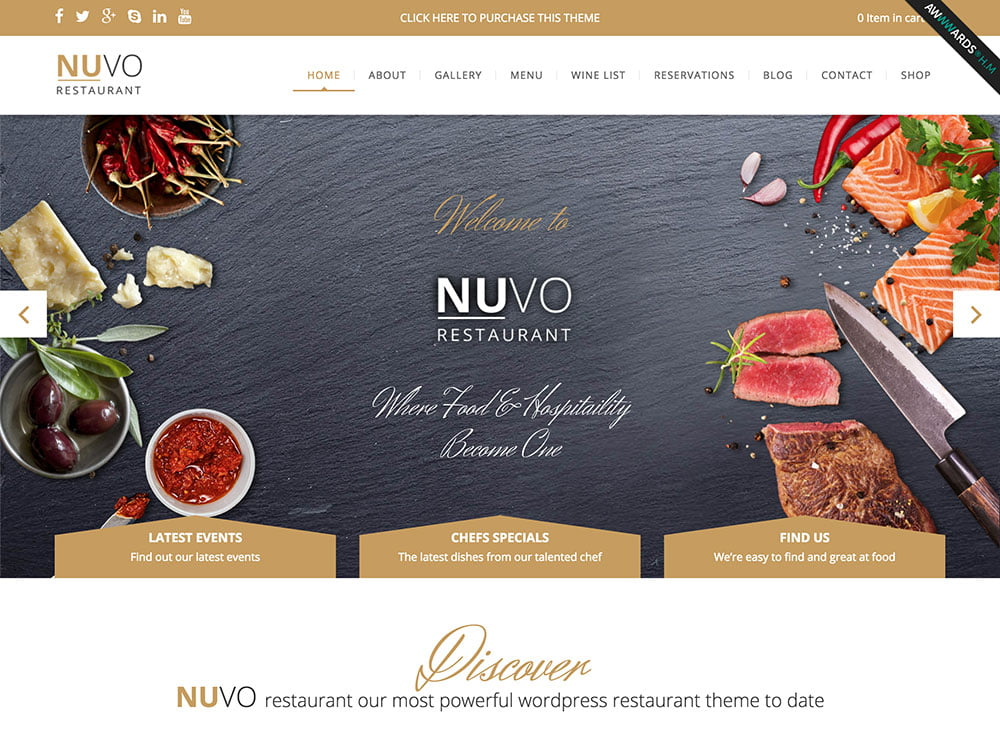 NUVO - 51+ Best Restaurant WordPress Themes [year]