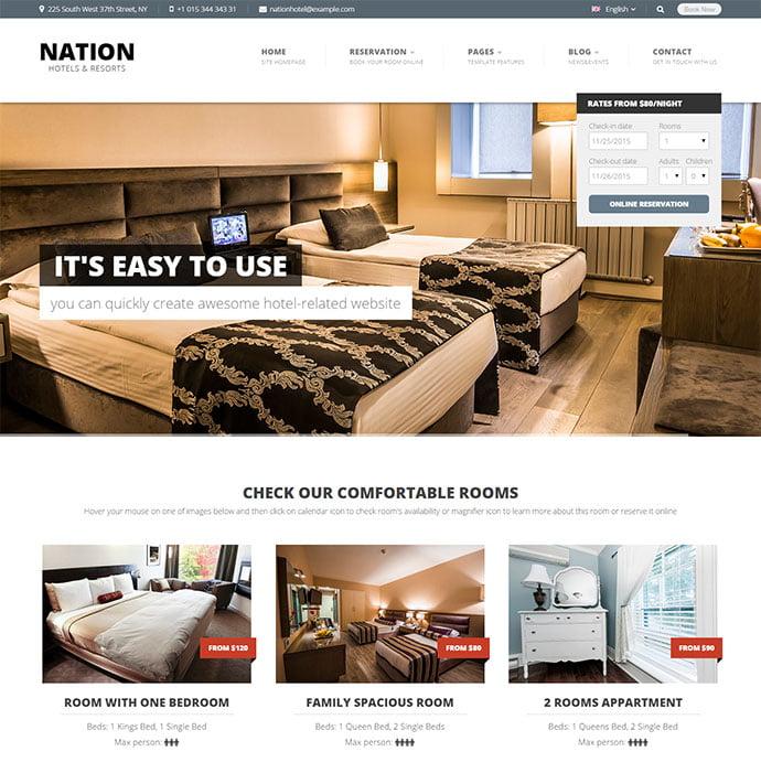 Nation-Hotel - 30+ Amazing Resorts & Hotels WordPress Themes [year]