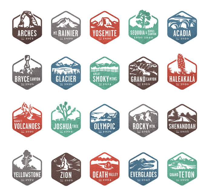National-Park-Stamps-by-Valerie-Jar - 50+ Fantastic BEST FREE Typographic Logo Badge Designs